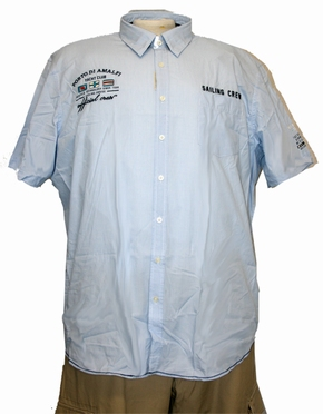 Kitaro shirt 'Amalfi Coast' korte mouw, licht blauw