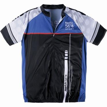Fietsshirt korte mouw, zwart-blauw-wit