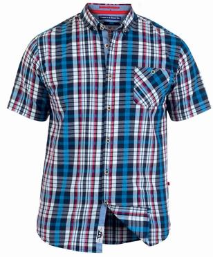 D555 overhemd STANLEY korte mouw geruit, blauw-wit-rood