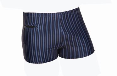 Zwembroek m. pijpjes, gestreept marine-zwart