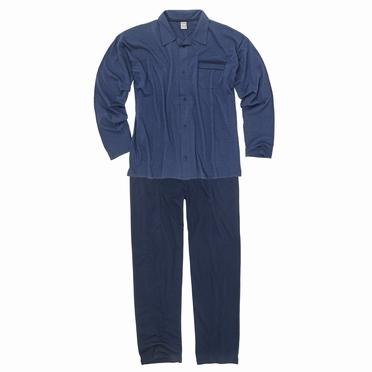 Doorknoop pyjama m. lange broek, blauw