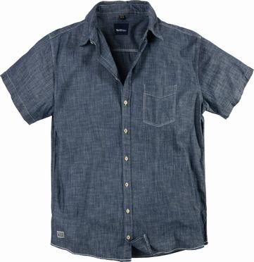 North 56°4 chambrey shirt korte mouw, blue washed