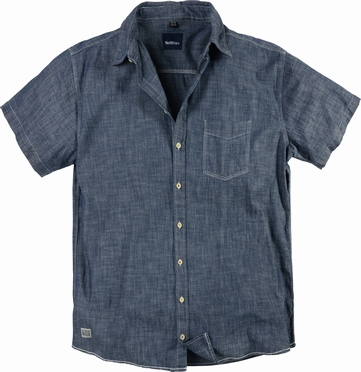 North 56°4 chambrey shirt korte mouw, blue washed