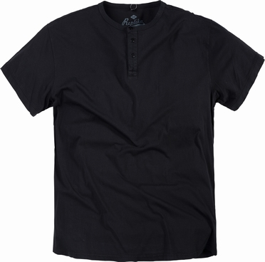 Replika granddad t-shirt korte mouw, zwart