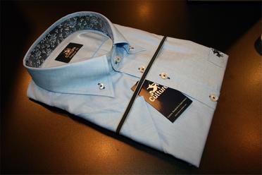Culture blouse korte mouw ATLANTA, aqua/bloem boord
