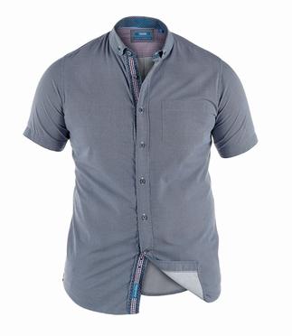 D555 Overhemd DAVION korte mouw tegelprint, navy