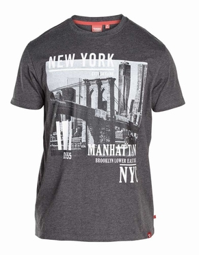 T-shirt 'New York Manhattan', zwart melée