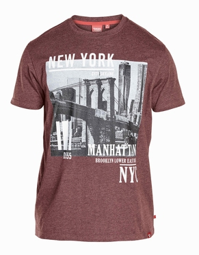 D555 T-shirt 'New York Manhattan', bordeaux melée