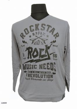 Kitaro t-shirt lange mouw 'Rockstar', licht grijs