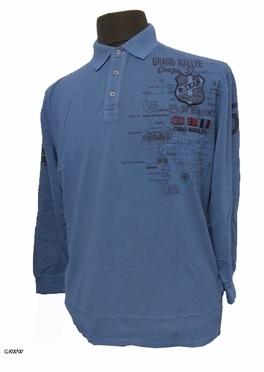 Poloshirt lange mouw 'Grand Rallye', mid blue