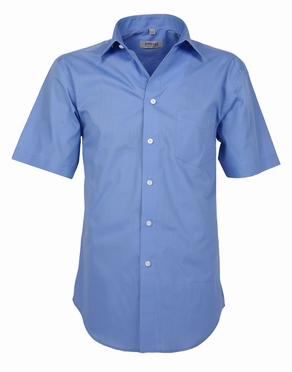 Stijlvol overhemd korte mouw, effen blauw