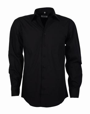 Stijlvol overhemd lange mouw, effen zwart