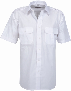 Pilotenhemd korte mouw, effen wit