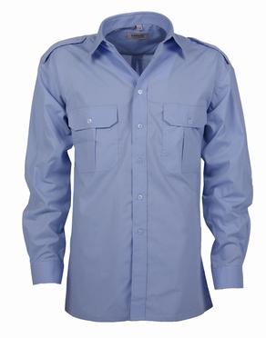 Pilotenhemd lange mouw, effen licht blauw