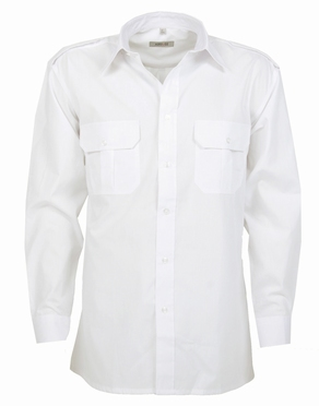 Pilotenhemd lange mouw, effen wit