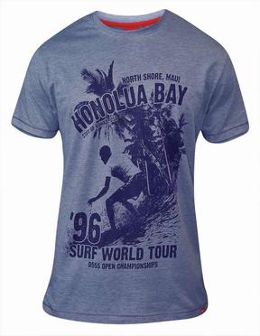 T-shirt 'Surf World Tour Honolua Bay', blauw melée