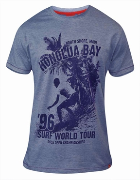 T-shirt 'Surf World Tour Honolua Bay', blauw melée