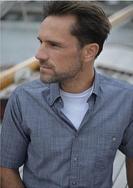 GCM Chambray overhemd korte mouw, navy blauw