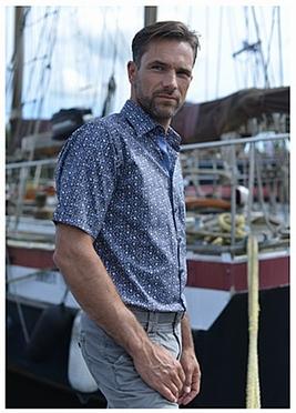 GCM Trendy overhemd korte mouw flora, navy