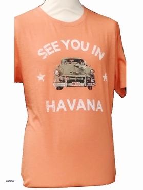 Kitaro t-shirt 'See you in Cuba', licht koraal