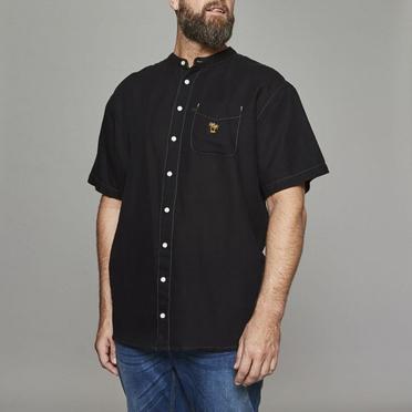 Replika shirt KM katoen/linnen, zwart