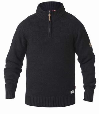 Soepele trui gebreid m. dambordreliëf, zwart