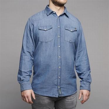 Replika Jeans blouse lange mouw, jeansblauw