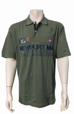 Meantime Polo pique print Newport, khaki