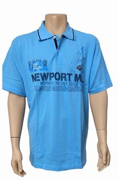 Meantime Polo pique print Newport, licht blauw