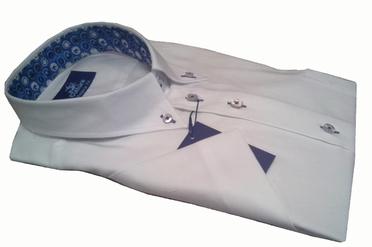 Culture overhemd korte mouw BOSTON, wit blauwbol