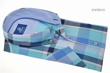 Culture overhemd KM BOSTON, blauw/aqua geruit