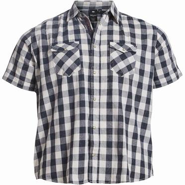 Replika shirt KM, navy-wit geruit