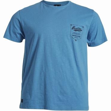 Replika Slub yarn t-shirt m. borduursel, blauw