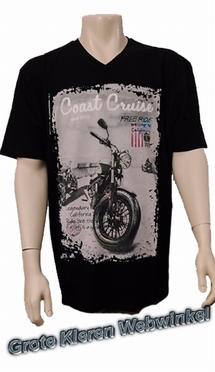 Kitaro t-shirt V-hals 'Coast Cruise', zwart