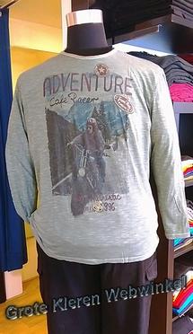 Kitaro t-shirt lange mouw 'Adventure', olijf grijs