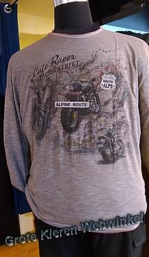 Kitaro t-shirt lange mouw 'Alpine Route', bruin grijs