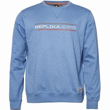 Replika Crew neck sweater Replika Jeans, blauw