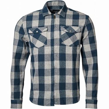 Replika geruit flanel overhemd met rits, navy