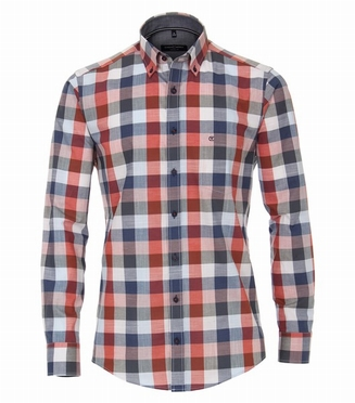 Casa Moda Casual Fit overhemd, rood-wit-bl ruit