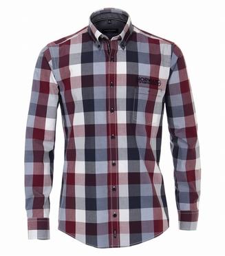 Casa Moda Casual Fit overhemd LM, bordo geblokt