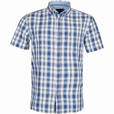 North 56°4 zomers shirt, blauw geruit met olijf streepje