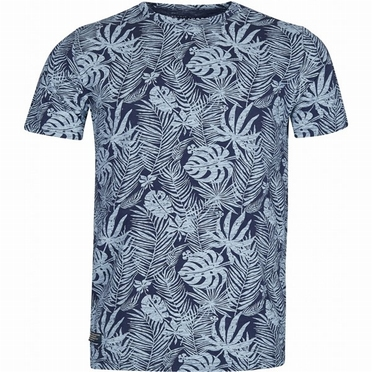 North 56°4 t-shirt Leafs print, navy