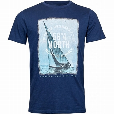 North 56°4 T-shirt Sailing print, navy blauw