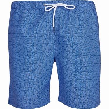 North 56°4 Zwemshorts m. kubus print, blauw