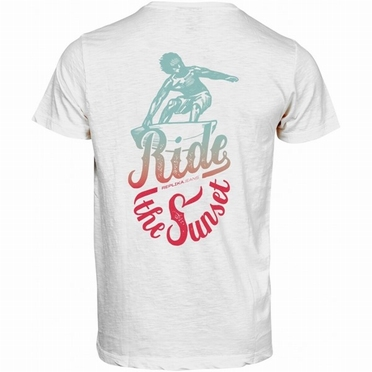 "Replika T-shirt rugprint ""Ride the Sunset', wit"