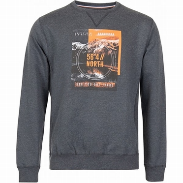 North 56°4 Crew Neck Sweat N56°4 print, antraciet