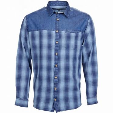 Replika overhemd lange mouw geblokt, denim blauw