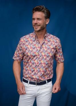 GCM overhemd m. stretch bladerprint, wit-rood-geel