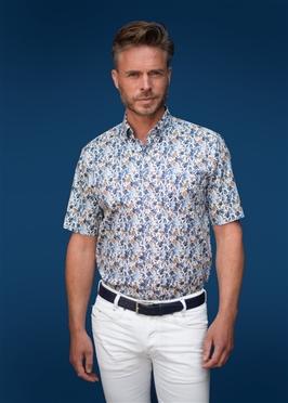 GCM overhemd m. stretch bloemenprint, wt-bl-khaki