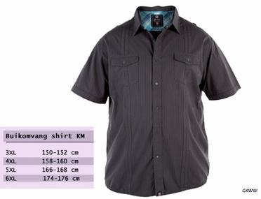 D555 overhemd FRESH korte mouw, washed black